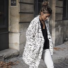 This oversized black and white tweed coat is one of our favorite winter white choices!