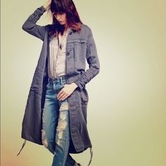 Free People Blue Washed Herringbone Duster Never worn -only tried it on at home and realized I didn't like how it looked on me. Bought from Free People within this past year. (Summer I think). Long Duster in a Textured Washed Blue color. Free People Jackets & Coats
