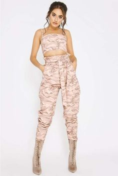 Order the Pink Camo Combat Paperbag Waist Trousers from In The Style. Kpop Fashion Outfits, Stage Outfits, Dance Outfits, Dress Outfits, Girl Fashion, Cute Camo Outfits, Girly Outfits, Retro Outfits, Casual Outfits