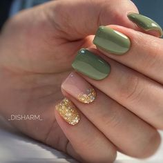 51 mismatched nail art design with gold details
