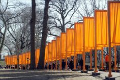 The Gates.  How wonderful was it for Central Park to become an interactive piece of art?!  Love.  Thank you, Christo and Jeanne-Claude.  Artists don't ever stop their work, she once said.  They just die.
