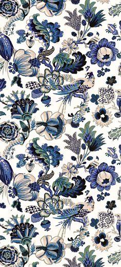 Cambourne Porcelain Blue 173821 by Schumacher Fabric Archive Collection Linen… Motifs Textiles, Textile Patterns, Textile Design, Pretty Patterns, Beautiful Patterns, Fabric Wallpaper, Pattern Wallpaper, Funky Wallpaper, Vibeke Design