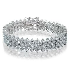 Lattice CZ Diamond Bridal Bracelet
