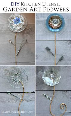 DIY Kitchen Utensil Garden Art Flowers. Clean out your cupboards and turn unwanted items into fun garden art.