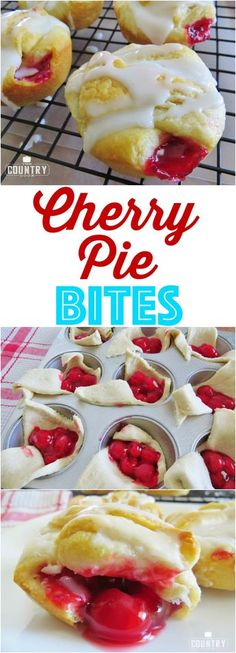 Cherry Pie Bites rec Cherry Pie Bites recipe from The. Cherry Pie Bites rec Cherry Pie Bites recipe from The Country Cherry Pie Bites rec Cherry Pie Bites recipe from The Country Cook Cherry Desserts, Cherry Recipes, Köstliche Desserts, Delicious Desserts, Dessert Recipes, Yummy Food, Eggless Desserts, Light Desserts, Cherry Pie Filling Desserts