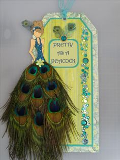 Peacock prima doll tag - feathers - green, blue