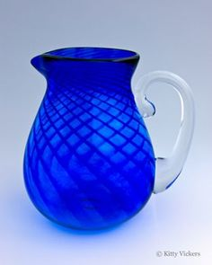 Cobalt blue blown glass pitcher