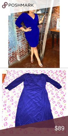 Lauren Ralph Lauren 3/4 sleeve faux wrap dress! Cobalt blue. So sexy. Wore once to a wedding. Pic speaks for itself. Lauren Ralph Lauren Dresses Midi
