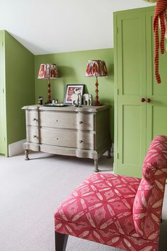 Kids Room With Green Walls And A Hot Pink Chair. Interiors Ideas For  Childrenu0027s Rooms