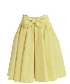 Xiongfeng®Damen A-Linie Knielang Swing Rock Faltenrock mit Taschen Gelb