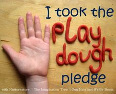 Join in with the Play Dough Pledge ~ with lots of extra resources: printable recipes, how-to-make-play dough video, free Let's Play Dough ebook full of activity ideas
