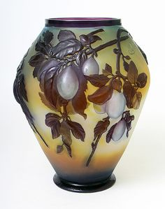 Fine Galle Plum blownout vase, recently purchased