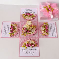 Diy Crafts For Girls, Diy And Crafts, Paper Crafts, Magic Box, Diy Gift Box, Diy Box, Exploding Box Card, First Communion Invitations, Pop Up Cards