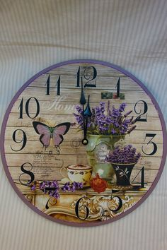 Amazon.com - Gorgeous Lavender Designed Decorative Wooden Wall Clock 13 Inch Round, Shabby Chic, Excellent Floral Accents -