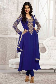 Kriti Sanon Blue Georgette Designer Long Anarkali Suit