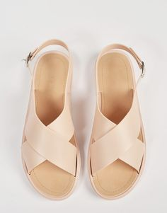 Top View of Crossed Jelly Slingback Sandals $31 #NewOnTheAVE