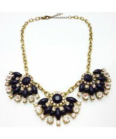 Elegant J.Crew Multicolour Resin Fan Shaped Crystal Gem Petals Pendant Necklace Fashion Jewelry