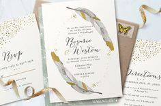 Boho feathers + gold details? Yes, please! Pretty round up of wedding invitations from Minted + a $3500 giveaway on GWS!!