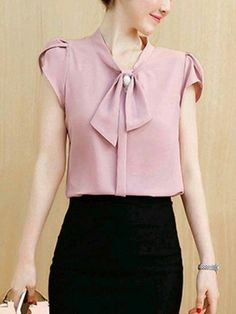 buy decorative button plain petal sleeve blouse online with cheap prices and discover fashion blouses at fashionmiacom - PIPicStats Work Fashion, Fashion Outfits, Womens Fashion, Fashion Blouses, Blouse Styles, Blouse Designs, Petal Sleeve, Work Attire, Types Of Sleeves
