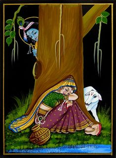 Krishna Peeping at Radha - Nirmal Painting on Wood - Folk Art Paintings (Nirmal Paintings on Wood) Krishna Drawing, Krishna Painting, Krishna Art, Lord Krishna, Radhe Krishna, Radha Krishna Pictures, Krishna Images, Shiva, Madhubani Art