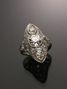 Art Deco Platinum and Diamond Cocktail Ring Circa 1920  Jewelry, Coins & Watches - Sale 1289 - Lot 142 - ADAM A. WESCHLER & SON, INC : AUCTIONEERS AND APPRAISERS - SINCE 1890