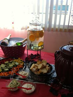 """Super easy and cost friendly...""""Spa Waters"""" for the spa bridal shower...ice water, orange slices, cucumber...iced tea also with Lipton Cold Brew bags and lemon wedges.  Also more Temp-tations by Tara!!"""