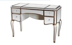 Vanity Table Shop - Ladonna Silver Mirrored Gold Trim Vanity Table, $1,078.92 (https://www.vanitytableshop.com/ladonna-silver-mirrored-gold-trim-vanity-table/)