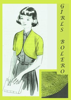 PDF Vintage 1940s Girl Bolero Knitting Pattern Petite Ladies Easy Knitting, Knitting Patterns, Crochet Patterns, Make Do And Mend, Moss Stitch, Green Goddess, Children Clothing, Vintage Knitting, Secretary