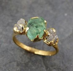 This is the one! Three raw Stone Diamond Emerald Engagement Ring 18k Gold Wedding Ring Uncut Birthstone Stacking Ring Rough Diamond Ring
