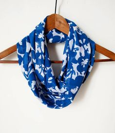 Blue Infinity Scarf Floral Scarf Fall by FashionelleStudio on Etsy