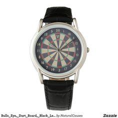 Bulls_Eye,_Dart_Board,_Black_Leather_Watch Wrist Watches