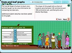 Stem-and-leaf graphs: an introduction (Years 7-9). This is a tutorial to help students understand the features of stem-and-leaf graphs and back-to-back stem-and-leaf graphs. They see how the graphs are used to display data and observe how the mean and median of the data sets can be used to interpret information.