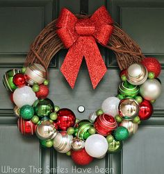 DIY Christmas Ornament Wreath   Where The Smiles Have Been