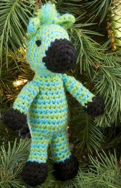 Zippy Zebra Ornament Free Crochet Pattern from Red Heart Yarns