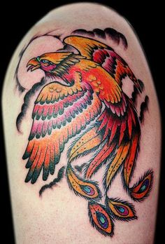 Bright phoenix arm tattoo