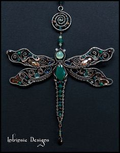 Wire Wrapped Dragonfly Multi Gemstone Cubic Zirconia от CathyHeery