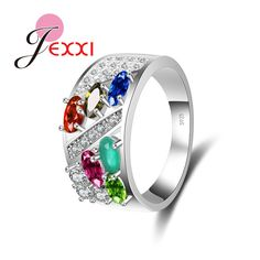 JEXXI Luxurious Women/Girls Fashion Jewelry Wedding Ring Engagement Accessories 925 Sterling Silver Colorful Crystal Rings