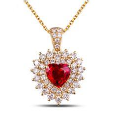 EMMA Pendentif coeur Rubis et Diamant en or Jaune