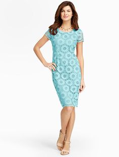 Talbots - Sunflower Lace Sheath | Dresses | Misses *this dress I really like -not sure of how it would fit across the bust??
