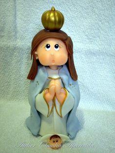 Nossa Senhora de Guadalupe modelada em biscuit com características infantis. Elo7 - Atelier Claudia Aparecida