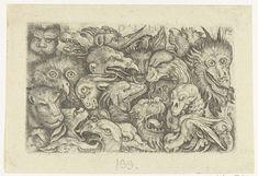 Daniel Hopfer (I) | Groteske vlakdecoratie met koppen van dieren, Daniel Hopfer (I), David Funck, 1480 - 1536 |