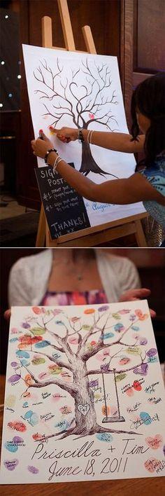 thumb print tree wedding guest book ideas