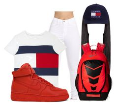 """""""School day"""" by amanda100412 ❤ liked on Polyvore featuring Tommy Hilfiger and NIKE"""