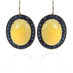Andrea Fohrman Yellow Opal and Blue Sapphire Earrings ($3,300) ❤ liked on Polyvore
