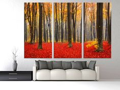 """Trees with Red and Yellow leafs during fall Canvas Print. 3 Panel Split (Triptych), 1.5"""" deep frames - Forest, Nature photography for decor"""