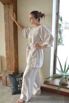Linen tunic and pants set - Ivory Linen tunic / kimono with a long belt - High-quality linen trousers and tunic - Comfortable casual set Linen Trousers, Linen Tunic, Spa Uniform, Gypsy Skirt, Overbust Corset, Spa Treatments, Fabric Samples, Linen Dresses, Natural Linen