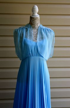 70s Vintage Blue Goddess Evening Dress Baby by RomantiqueTouch