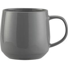 "Harris Grey Mug in Dinnerware Sets | Crate and Barrel 4"" tall 21oz, $4.95- on sale!"