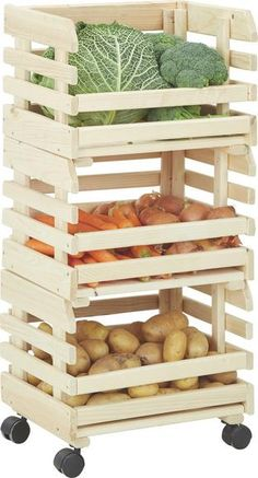 Vegetable Rack, Vegetable Stand, Vegetable Storage, Home Crafts, Diy Home Decor, Potato Storage, Small Apartment Kitchen, Wood Crates, Küchen Design