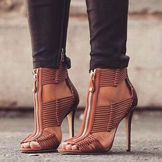 2018 Newest Weaving Snake Skin Stitching Front Zipper Sexy Peep Toe And Thin High Heel Summer Fashion Women Ankle Shoes Sandals Source by carmyahrobinson women shoes Ankle Shoes, Hot Shoes, Crazy Shoes, Me Too Shoes, Women's Shoes, Shoe Boots, Platform Shoes, Dress Shoes, Men's Boots